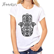 Cute Cool Women T shirt Hand Palm Pattern Printing T-shirt White Female camiseta Short Sleeve Mujer Basic Tee Shirts Vintage Top