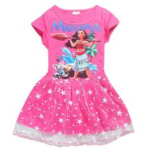 Baby Toddlers Kids Girl Star Moon Tutu Dress Cartoon Moana  short sleeves Printing Princess Casual Cotton Dresses