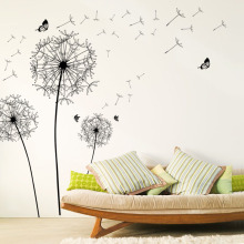 [Fundecor] diy home decor new design large black dandelion wall sticker art decals PVC wall decoration vinilos paredes