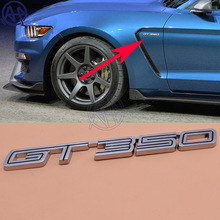Car Styling Auto Car Silver Metal 3D GT350 GT 350 Emblem Badge Sticker Decal Universal for All Car 15-16 Mustang Shelby Fender(China)