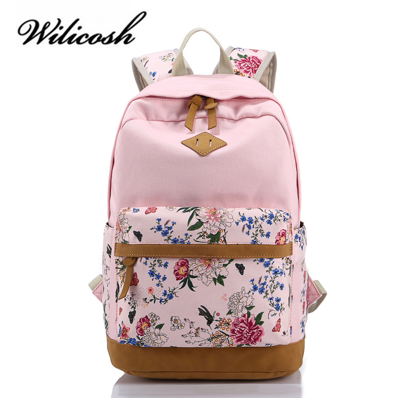 Wilicosh Floral Printing Women School Bag Backpack For Teenage Girls Backpacks Canvas Children Schoolbag Women Book Bags WBS050(China)