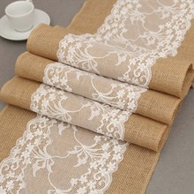1Piece Rectangle Orchid Embroidered White Lace Linen Table Runner Chair Sash For Hotel Wedding Party Dining Table Decoration(China)