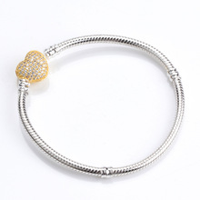Authentic 100% 925 Sterling Silver Snake Chain Gold Heart Pandora Bracelet Luxury Women Charm Bead Jewelry(China)