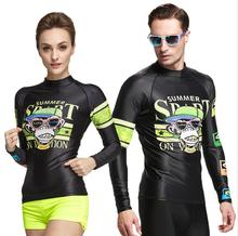 2017 Couple Rashguard Men/Women long Sleeve Surf Shirt Diving Suit Top UPF50+ Swimwear Surfing Snorkeling Windsurf Sports Tights