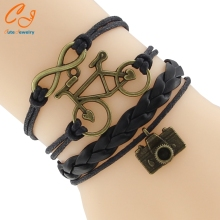 Cute Antique Bronze Camera Pendant Female Charm Bracelet Hollow Bicycle Infinity Leather Braided Bracelet Handmade Retro Jewelry(China)