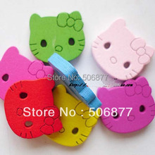 20x20x3.5mm Free shipping Wholesale Bulk 100pcs Wooden Hello Kitty Buttons Craft Mixed Scrap booking Products(China)