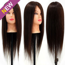 "Salon School Use 20"" 90% Real Hair Brown Manikin Head Hair Styling Salon Model Mannequins(China)"