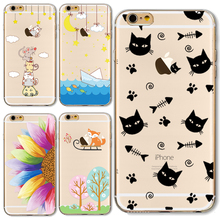 TPU Cover For Apple iPhone 4 4S 5 5S SE 5C 6 6S 6Plus 6SPlus Cases Top Popular Painting Black Cat Eat Delicious Fish