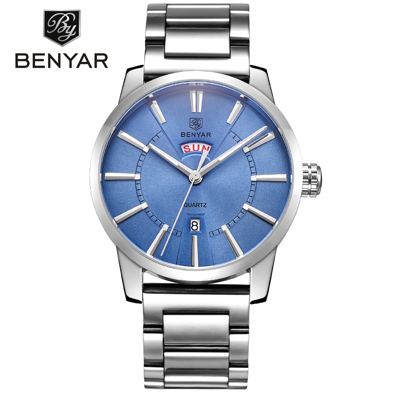 Relogio Masculino BENYAR Luxury Brand Analog Display Date Full Stainless Steel Mens Quartz Watch 30M Waterproof Casual Watch<br>