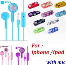 3000pcs/lot colorful Earphone3.5mm Stereo in ear Earphone Headset With Mic For iPhone iPad iPod Nano(China)