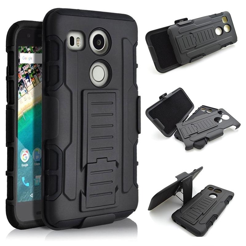 Rugged Shockproof Belt Clip Holster Shell Cover Hard Armor Case LG Nexus 5X (5 2015) Google Heavy Duty Cases Kickstand