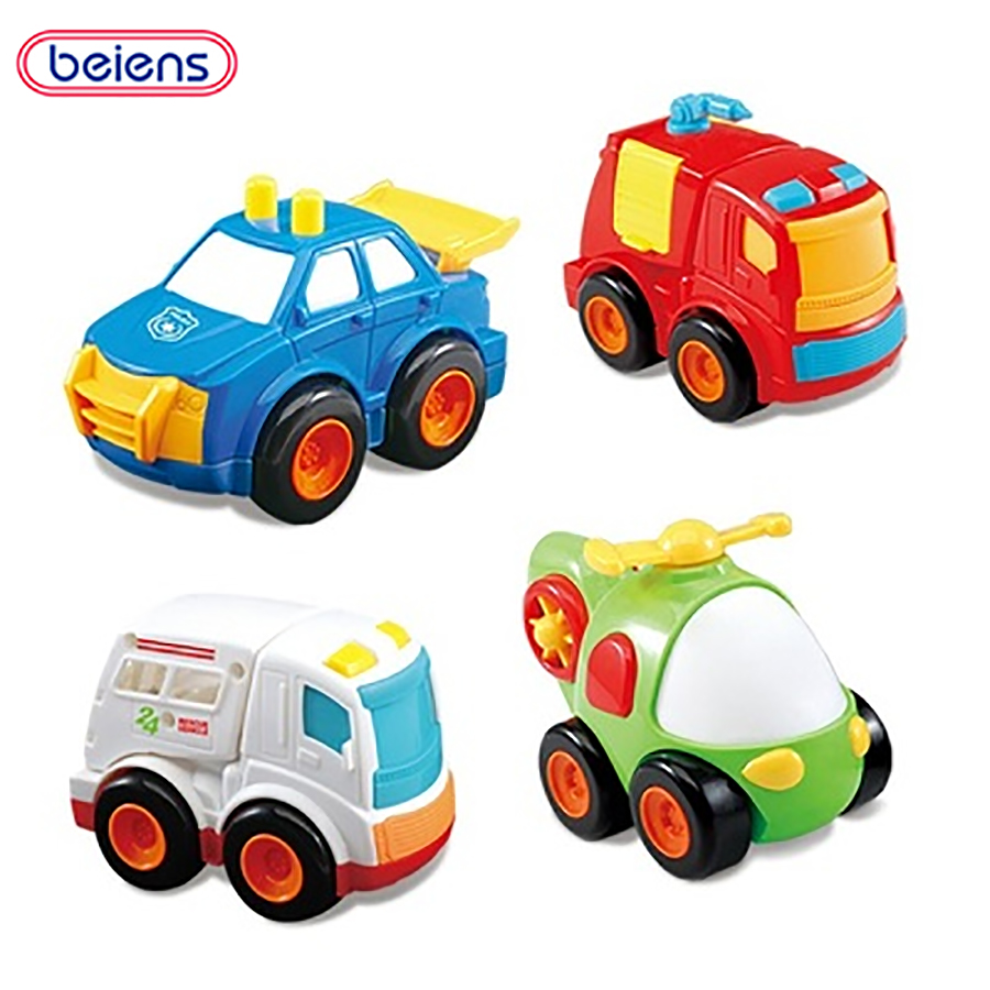 Beiens Children's Toys 4pcs Mini Car Baby Back Car Inertial Car Diecasts Model Police Cars Ambulances Helicopters School Buses(China)