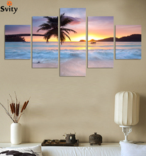 coco tree & sunset Sea,Top-Rated Large HD Canvas Print for Living Room, 5 panel Wall Art Picture/Photo Painting Artwork