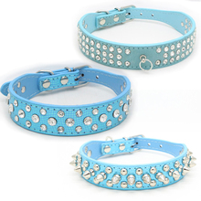 Traumdeutung Blue Big Dogs Collars Spiked Rhinestone Animals Supplies For Cat Collar Pet Puppy Accessories Chihuahua Necklace(China)