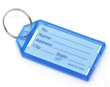 20PCs Blue Plastic Key Ring Tags with Name/ID Card 57x29mm New Arrival High Quality Accessories For Women Men