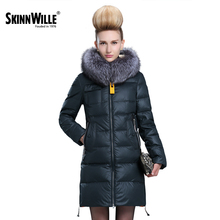 Skinnwille 2017 Women's winter jacket Coat female Synthetic Jacket For Winter Women's Park Winter Jacket With Real Fur Women's J(China)