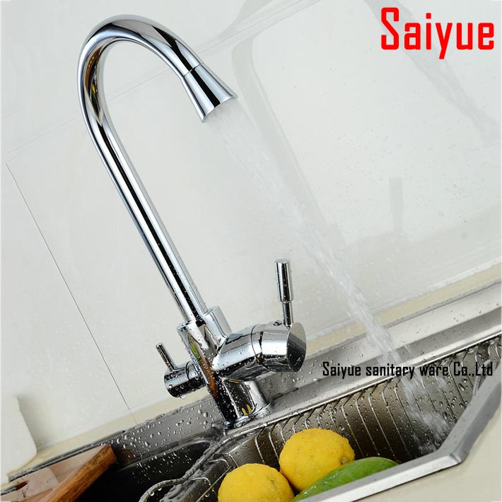 2016 Premium chrome Drinking Water purifier Kitchen  Faucet  Sink Mixer 3 Way Water Filter Tap dual holder single hole <br><br>Aliexpress