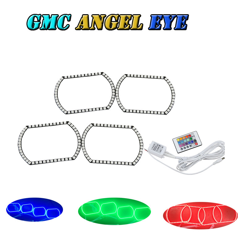 5050 RGB remote control IR  horseshoe shaped LED Angel Eyes Halo Rings  conversion kit for 2007 GMC Sierra Truck Free shipping<br><br>Aliexpress
