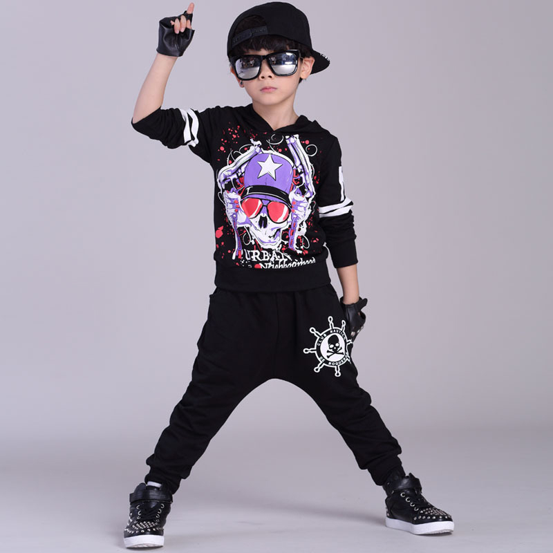 Jazz dance boys clothes kids hip hop clothing Kids Suit personality hooded Long Shirt + Pants Sweatshirt Casual Clothes 5-12Y<br><br>Aliexpress