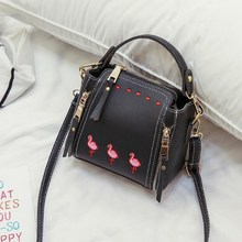 Hot Sale Embroidery Ostrich Women Leather Mini Bucket Handbags Ladies Shoulder Bag Girls Messenger Crossbody Bags Bolsa Feminina