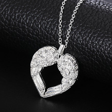 Free shipping Popular Beautiful fashion silver plated jewelry charm Angel wings heart pendant pretty Lady Necklace N357 Kinsle