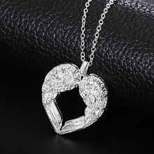 Free shipping Popular Beautiful fashion silver plated jewelry charm Angel wings heart pendant pretty Lady Necklace N357 Kinsle(China)