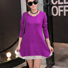 2017 candy color autumn winter 2017 Fashion Women long sleeve Dresses mini Dress girl casual cotton wool lace tunic elegant(China)