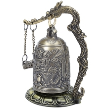 A++Antique Home Decoration Zinc Alloy Vintage Style Bronze Lock Dragon Carved Buddhist Bell Chinese Geomantic Artware Exquisite