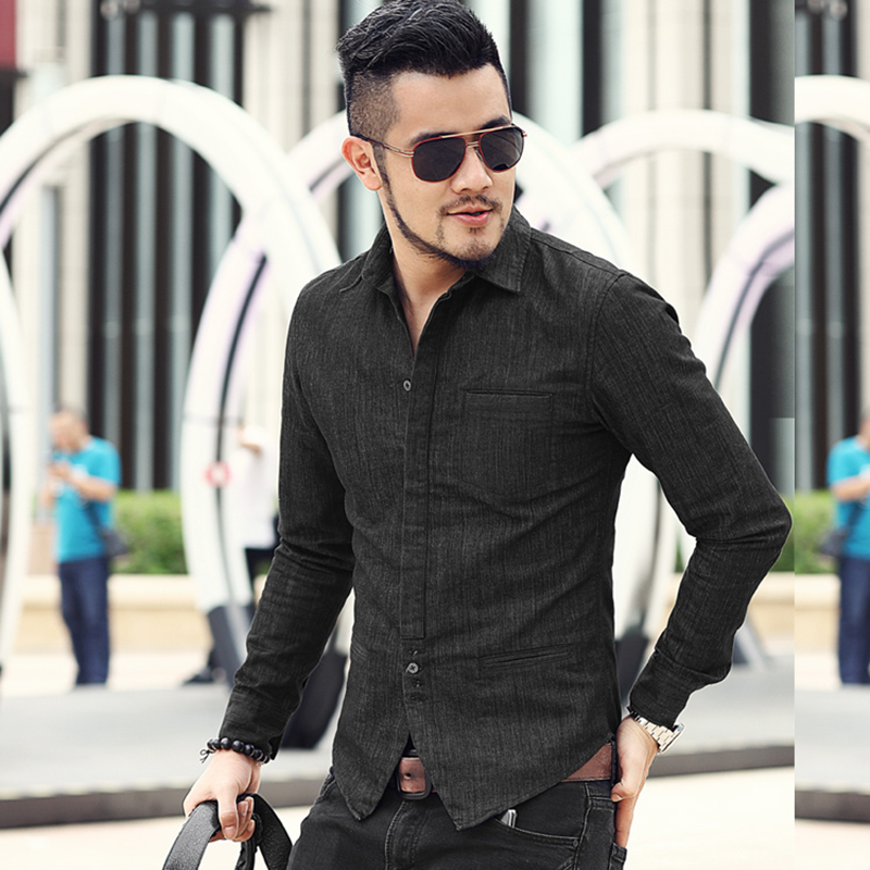 Men New Fashion British Style Casual Slim Long Sleeve Denim Shirt Metrosexual Men Brand Autumn Black Solid Party Shirt S906-2