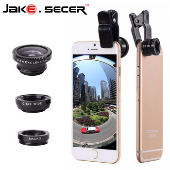 JAKE.SECER Fisheye Fish Eye Wide Angle Macro 3 in 1 Mobile Phone Lens For Ip6S plus