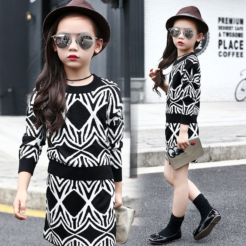 Childrens Garment Spring New Product Girl Child Wool Knitting Suit Two Pieces Kids Clothing Sets<br>