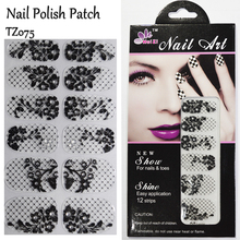Free Shipping Black Lace Nail Patch Flower with Diamond Polish Gel Nail Art Sticker French Manicure 3D Nail Decals TZ075