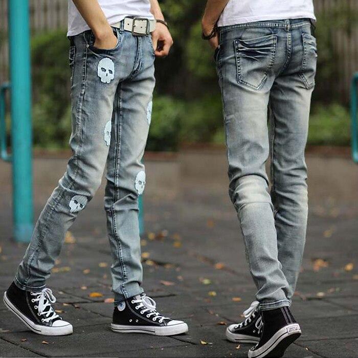 New Men Jeans Casual Fashion Slim Skull Print Straight Jeans Plus Size  men pants cotton men clothing trousersОдежда и ак�е��уары<br><br><br>Aliexpress