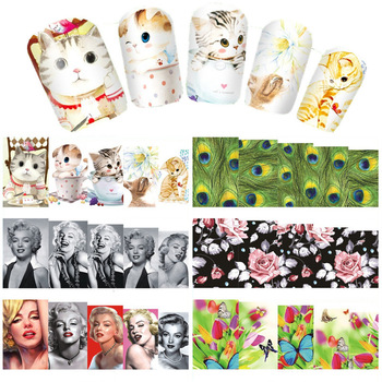YZWLE 2017 New Styles Water Transfer Nail Art Sticker Cat Flower Etc Manicure Decor Tool Cover Nail Wrap Decal