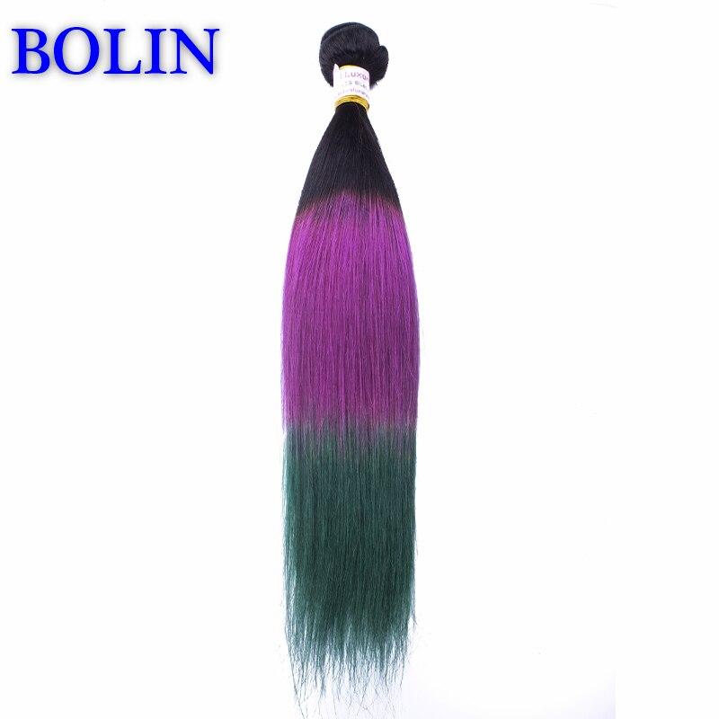 1B/Purple/Green Ombre Hair Extension 7A Ombre Brazilian Human Hair Weave Bundles 3Pcs Three Tone Ombre Brazilian Straight Hair<br><br>Aliexpress