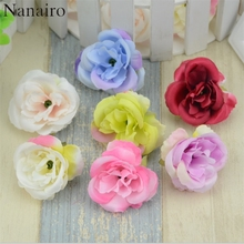 50pcs/lot Artificial Peony Silk Flower Heads For Wedding Home Decoration DIY Headmade Scrapbooking Wreath Cheap fake flowers(China)