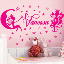 Customer-made FAIRIES & STARS Personalized Name Personal Stickers Nursery Vinyl Wall Decals decor-You Choose Name and Color(China)
