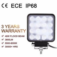 48W Square Flood LED Off-road Work Light Bar Boat 4x4 ATV SUV 4WD Car Truck Driving Lamp Waterproof IP68 CE Certification