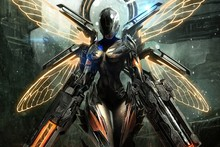 girl fairy armor gun fantasy sci fi robot cyborg weapon cloth silk art wall poster and prints(China)