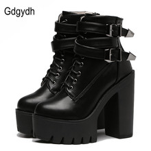 Gdgydh 2017 Spring Fashion Women Boots High Heels Platform Buckle Lace Up Leather Short Booties Black Ladies Shoes Good Quality(China)
