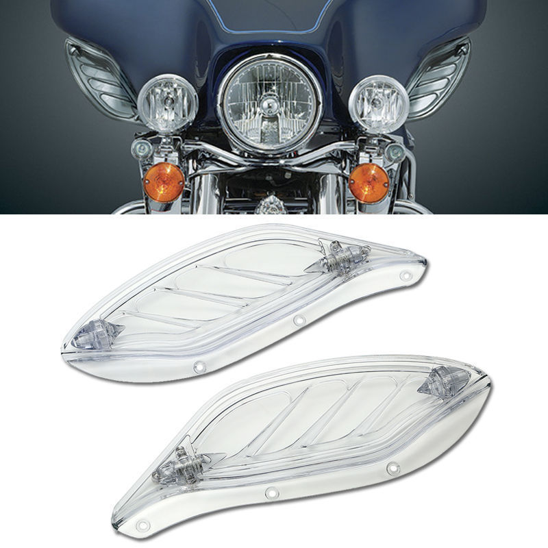 Clear Side Wing Fairing Deflector Adjustable For 96-13 Harley Electra Tri Glide Street Glide Motorcycle<br>