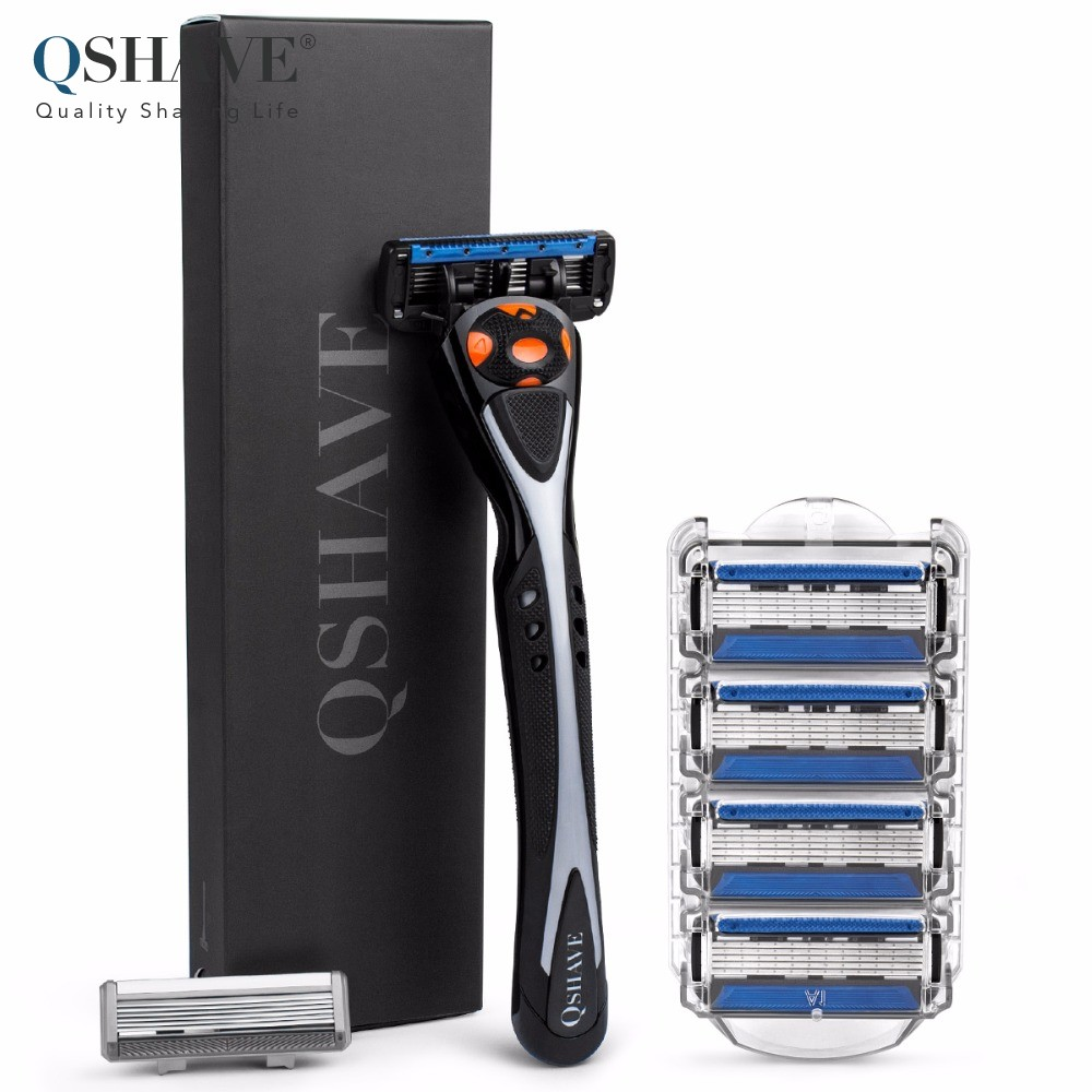 Qshave Black Spider Man Razor Can Design Your Name on Handle with 6 pcs blades shaver (5pcs USA X5 Blade & 1pc Germany X6 Blade)(China)