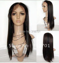"Beautiful synthetic Lace Front Wig 18""Silky Straight  #1b+30 off black  Heat Resistant Hair Lace Front Wigs"
