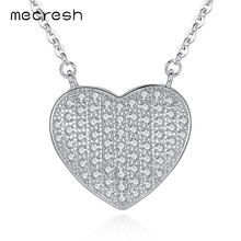 Mecresh 925 Sterling Silver Heart Pendant Necklace Charming Cubic Zirconia Jewelry for Women Romantic Mother's Day Gift MXL097