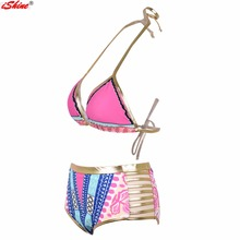 iShine New Women's African Tribal Metallic Cutout High Waist Bikini Set Sexy Geometric Swimwear Swimsuit Halter Push Up Bikinis