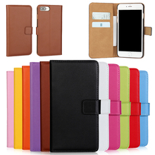 Genuine Leather Flip wallet cover Case For iphone 7 6 6S Plus 5 5S SE Real Purse Phone Shell with card Slots Brown Black