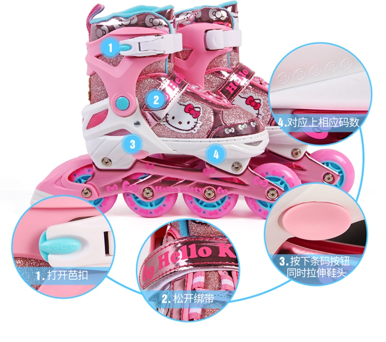 Hello Kitty Full Flashing Roller Skate Shoes with Protective Suit For Kids Girl Boy Adjust Shoes Daily Street Brush Skating (15)