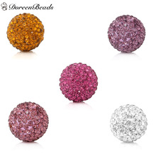 DoreenBeads Polymer Clay Sound Beads Ball Fit Wish Box Pendants (No Hole) Round Mixed Color Rhinestone About 16mm Dia, 5PCs