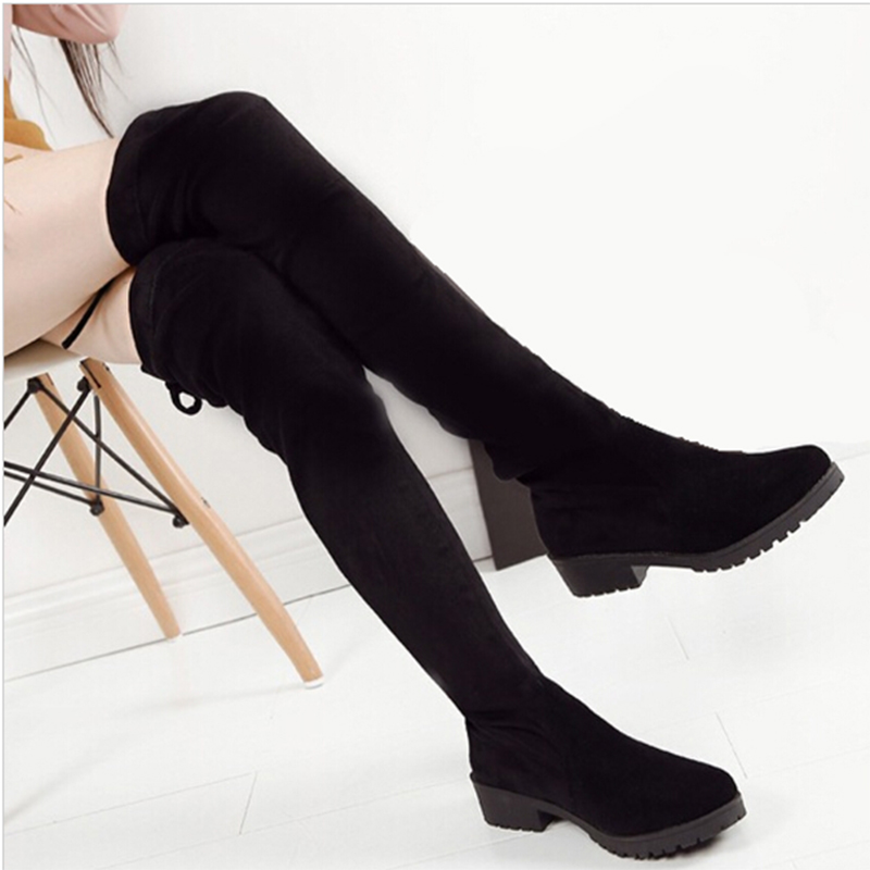 Women Boots 2016 Autumn Winter Ladies Fashion Slim Flat Heel Leather Boots Shoes Over The Knee Thigh High Long Boots<br><br>Aliexpress