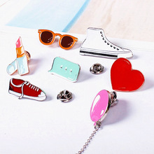 Timlee X122 Cartoon Gym shoes Balloon Lipstick Heart Sunglass Cute Metal Brooch Pins Button Pins Gift Wholesale